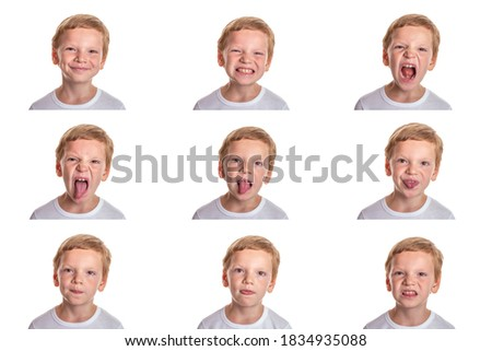 Speech therapy concept. Little boy doing exercises for correct pronunciation. Isolation on a white background. Image set. High quality photo Сток-фото ©