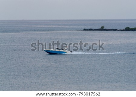 Speed Boat drive throught the calm sea #793017562