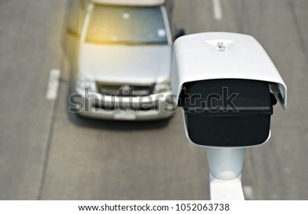 Speed camera car in Thailand.Concept for surveillance on highway,street and tool of police,control drive. Foto stock ©