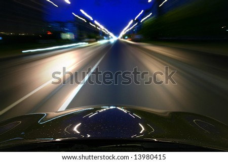 speed drive motion blur - stock photo