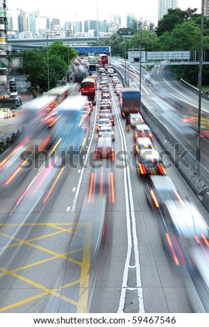 speed evening traffic motion blur