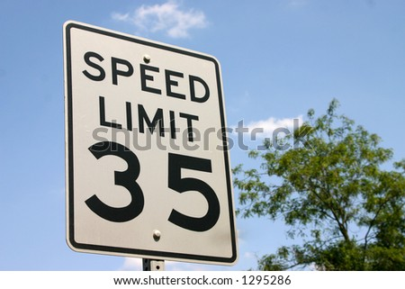 Speed limit 35 - stock photo