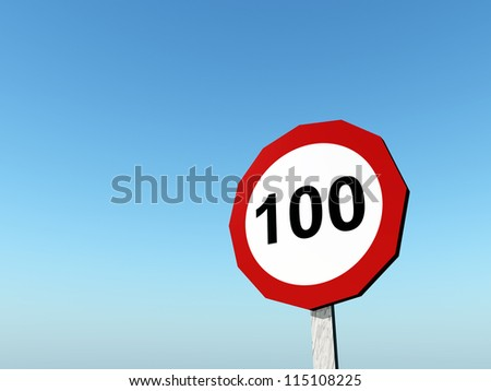 Speed Limit 100 Computer generated 3D illustration
