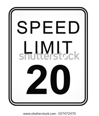Speed Limit 20 MPH Sign Isolated on White