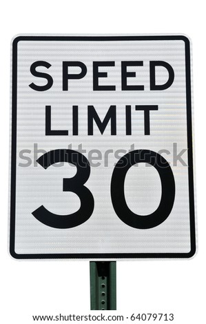 Speed Limit 30 MPH Sign Isolated on White