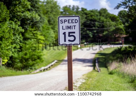 Speed Limit Road Sign 15 miles an hour #1100742968
