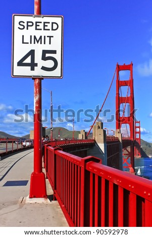 Speed limit sign at Golden Gate Bridge in San Francisco, California