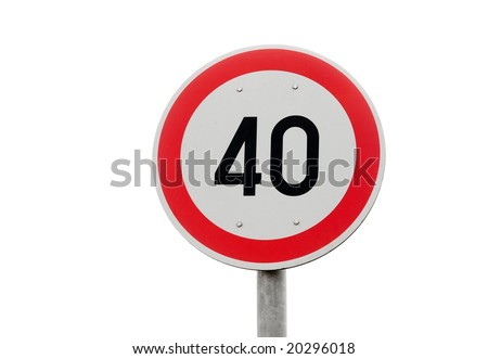 Speed limit traffic sign isolated on a white