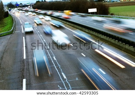 speed morning traffic motion blur