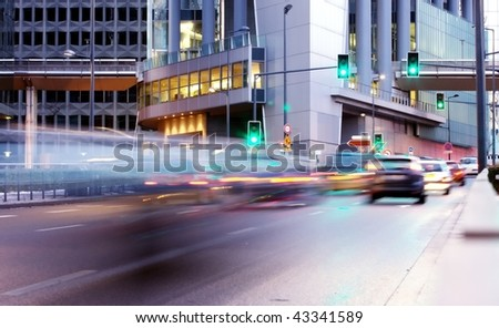 speed morning traffic motion blur in europe