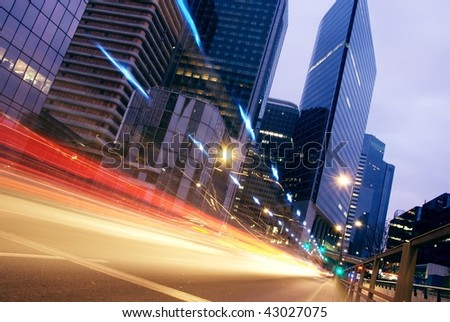 speed morning traffic motion blur through downtown in europe