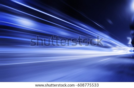 Speed motion,abstract background rays.Traffic car lights on road. #608775533