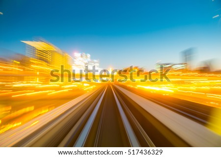 Speed motion in urban highway road tunnel #517436329