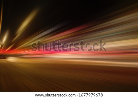 SPEED MOTION LINES BACKGROUND, RED TRAILS ON THE NIGHT HIGHWAY ROAD, CAR ACCELERATION Stockfoto ©