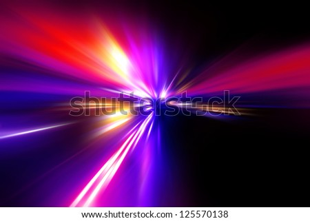 speed motion on night road