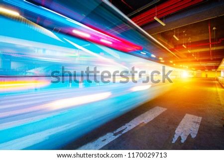 Speed motion on road at night #1170029713
