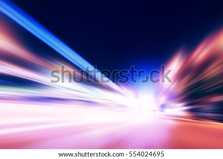 Speed motion on the road at night time. #554024695