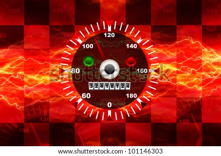 Speed red and orange abstract background - stock photo