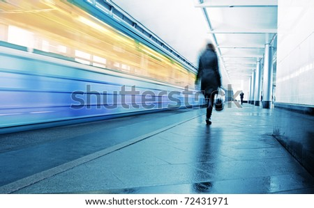 Speed train on a platform