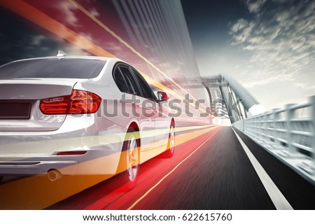 Speeding car, driving on the Highway Bridge in Asia