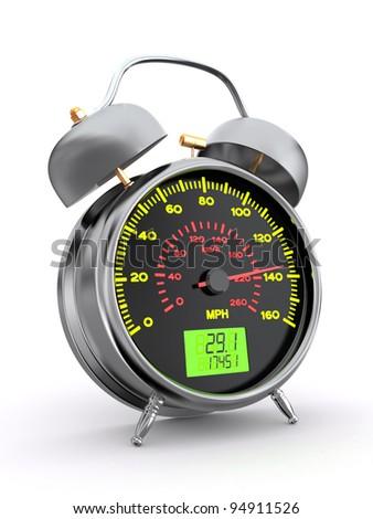 Speeding. Speedometer as alarm clock face. 3d