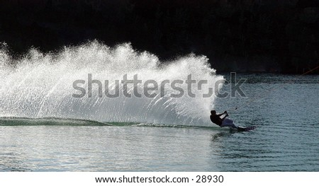 Speeding waterskiier