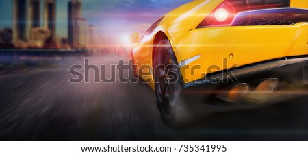 Speeding with sport car in city #735341995