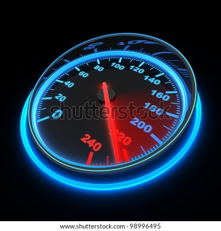 speedometer and arrow on 220 (done in 3d)