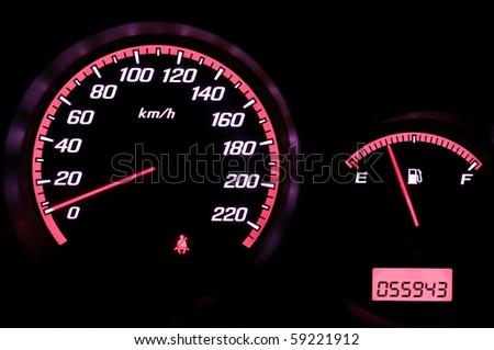 Speedometer and fuel gauge
