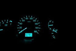 Speedometer dial with blue light numbers and the black background represents the speed of the car. Engine speed The level of heat and the amount of fuel.