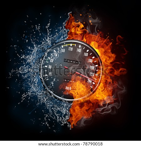 Speedometer in fire and water. Illustration of the speedometer enveloped in elements isolated on black background. High resolution speedometer in fire and water image for a guitar concert poster.