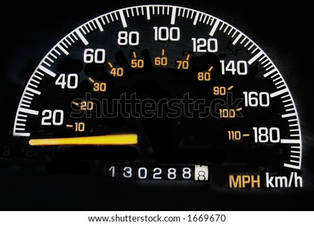 speedometer in miles and kilometers stock photo 1669670 shutterstock. Black Bedroom Furniture Sets. Home Design Ideas