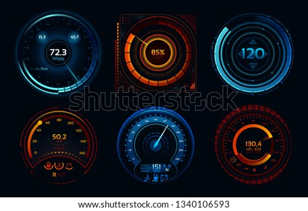 Speedometer indicators. Power meters, fast or slow internet connection speed meter stages. Automobile digital odometer indicator display technology for racing game  isolated icons concept set