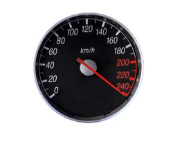 Speedometer isolated on white, with clipping path