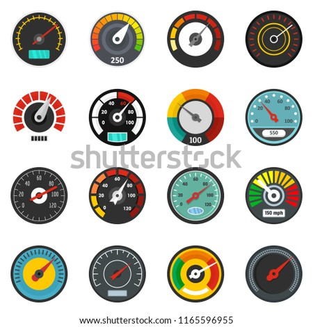 Speedometer level indicator icons set. Flat illustration of 16 speedometer level indicator icons isolated on white