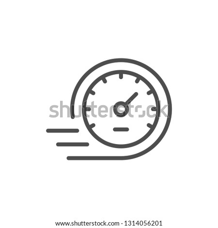 Speedometer line icon isolated on white