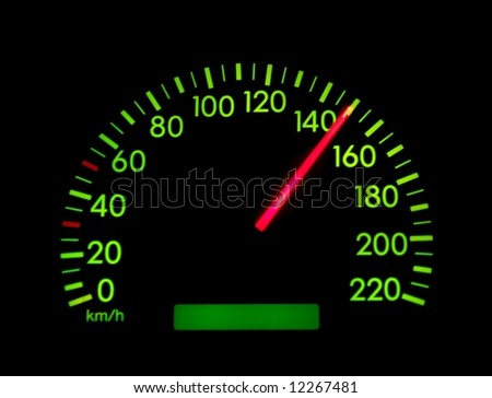 Speedometer of a car showing 150 - stock photo