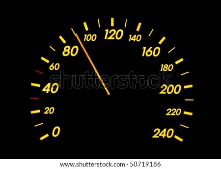 Speedometer of a car showing 90