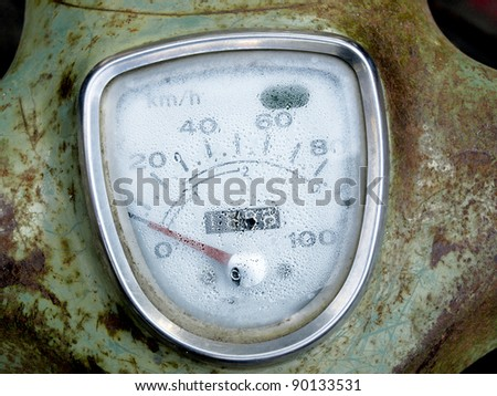 Speedometer Of motorcycle abandoned, concept of recycling.