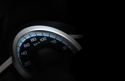 Speedometer of motorcycle speed in kilometers per hour