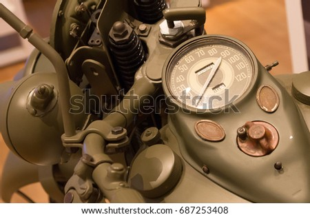 Speedometer on a vintage motorcycle, selective focus Foto stock ©