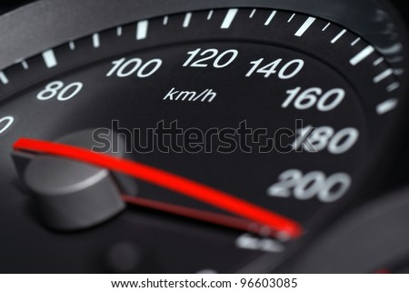 Speedometer passenger car, showing a higher speed.