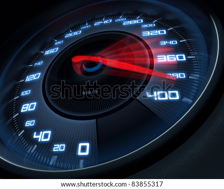 Stock Photo Speedometer scoring high speed in a fast motion blur.