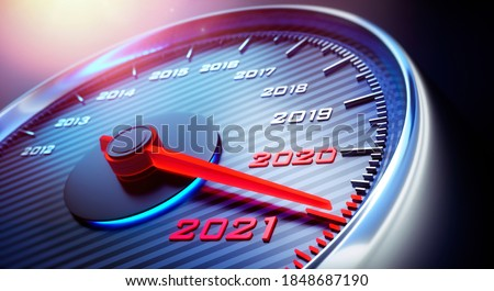Speedometer showing the year 2021 - 3D illustration Сток-фото ©