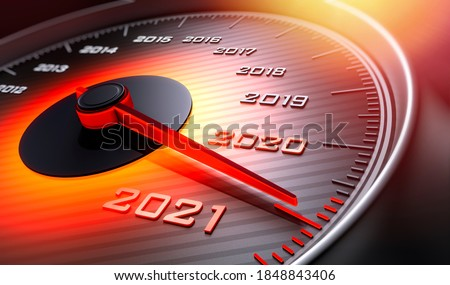 Speedometer showing the year 2021 - 3D illustration Foto stock ©