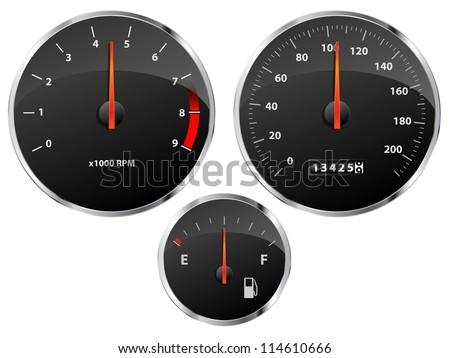 Speedometer, tachometer and fuel gauge set with chrome bezel
