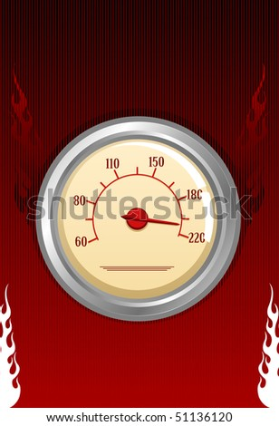 Speedometer with fires on red background