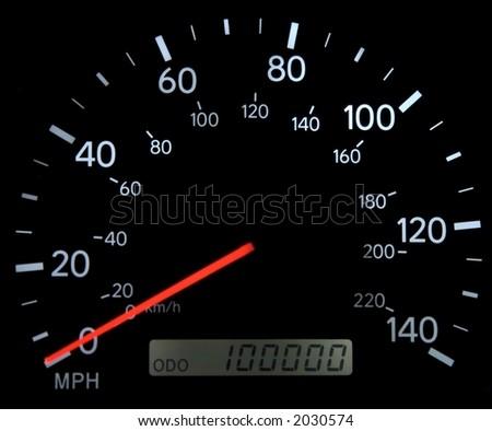 Speedometer with 100,000 miles on it