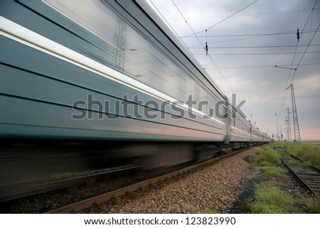 Speedy train traveling disappearing into the distance