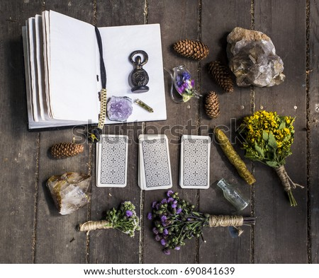 Spellbook, dry grass, wicca, magic, witchcraft, candles, crystals, taro #690841639